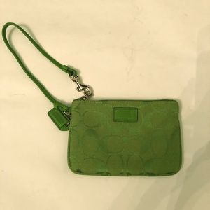 Coach Signature Skinny Small Wristlet - Lime Green
